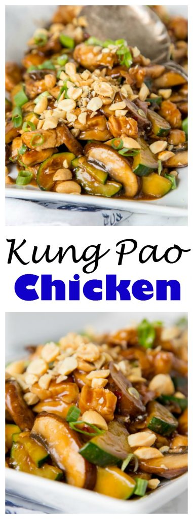 Kung Pao Chicken - quick and easy chicken stir fry packed with veggies and a little kick. Add whatever veggies you want and have dinner ready in minutes!