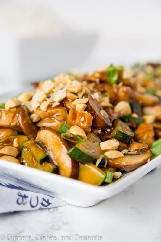 close up of kung pao chicken on a plate