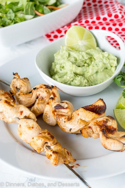 Chicken Skewers - tender pieces of chicken marinated with lots of lime juice and chipotle, then grilled and served with an avocado dipping sauce.