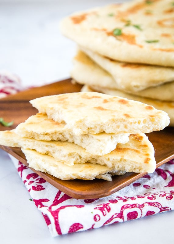 Indian style flat bread is easy to make at home and great brushed with garlic butter