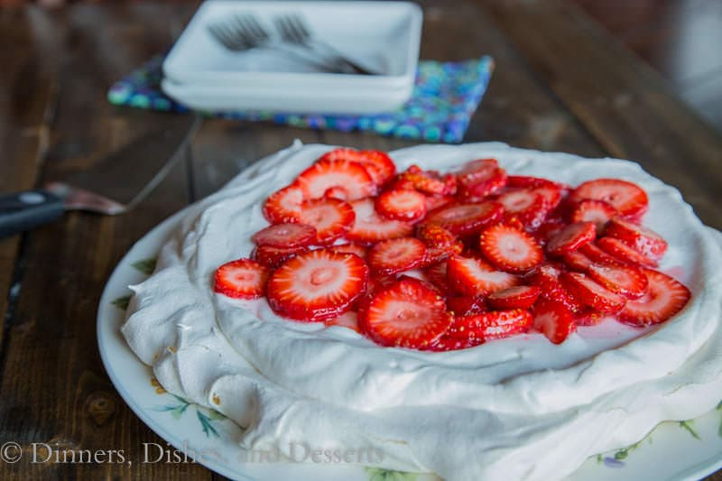 Strawberry Pavlova with whipped cream