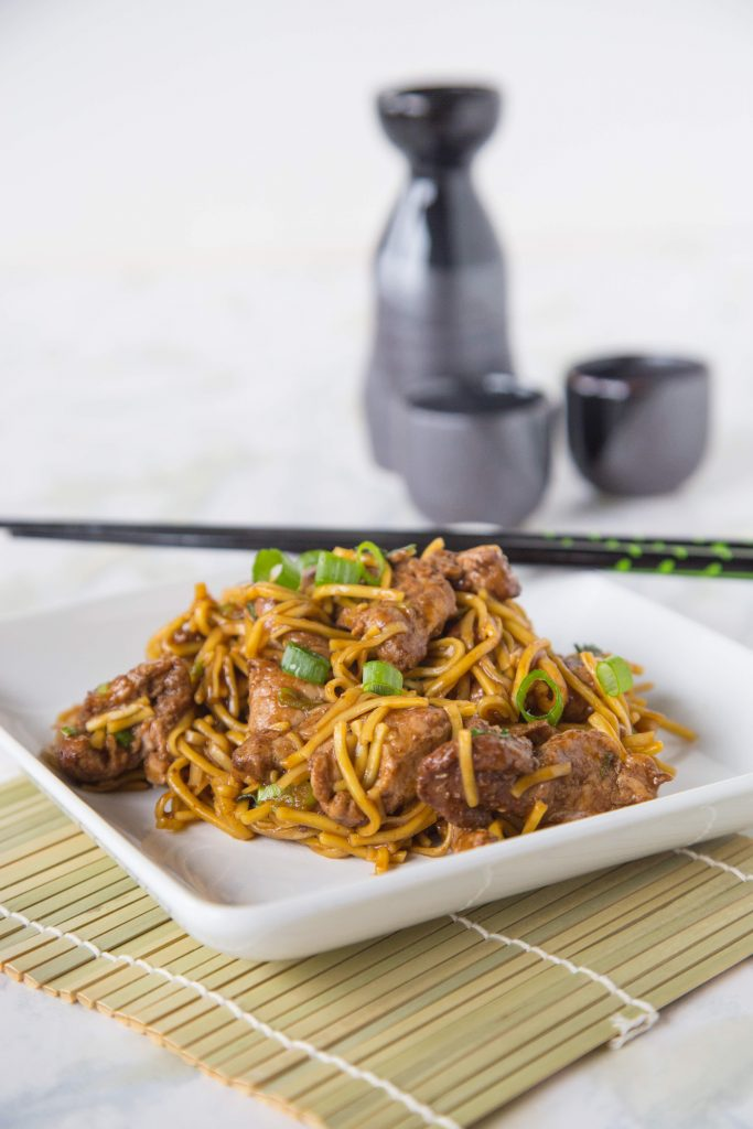 Five Spice Pork Lo Mein - Lo Mein is a classic take out dish, but this takes it up a notch. Chinese Five Spice Powder gives tons of great flavor in this quick and easy dinner!