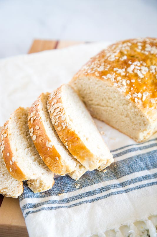 Soft and tender homemade bread with oats and honey