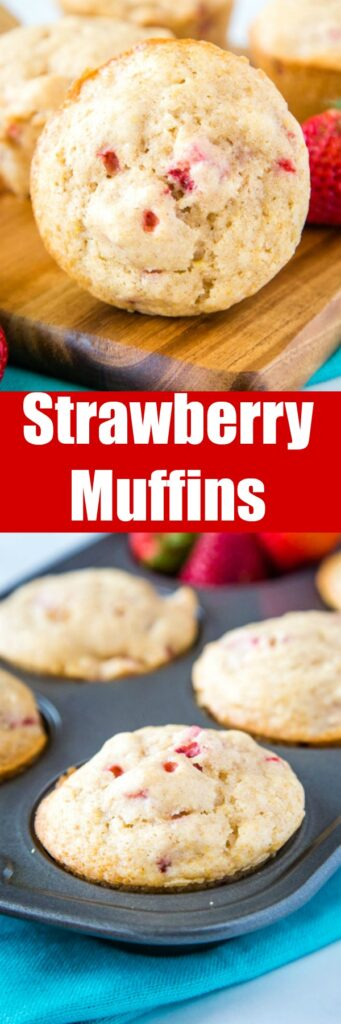 Strawberry Muffins - a quick and easy muffin recipe with lots of fresh juicy strawberries. Slightly sweet, tender and absolutely delicious. Great to freeze and have on hand for busy mornings!