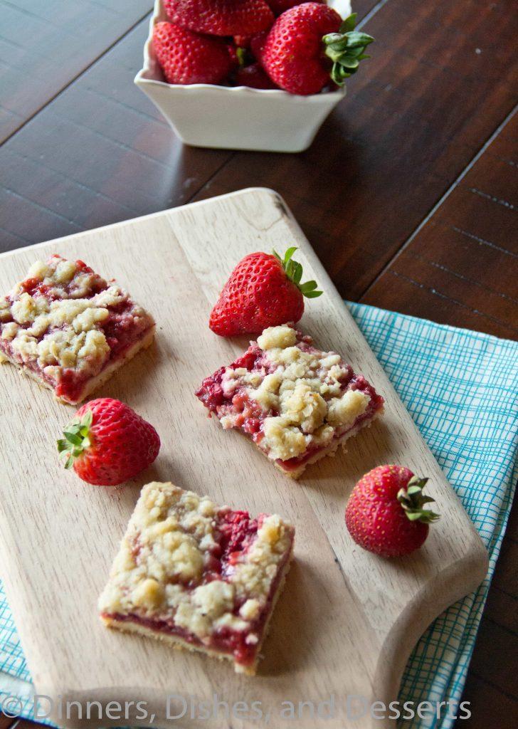 Strawberry Crumb Bars on a cutting board