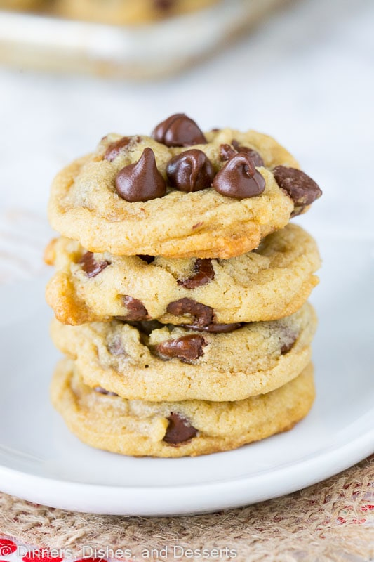 Chocolate Chip Cookies - classic thick and chewy chocolate chip cookies. Nothing beats a warm chocolate chip cookie straight out of the oven.