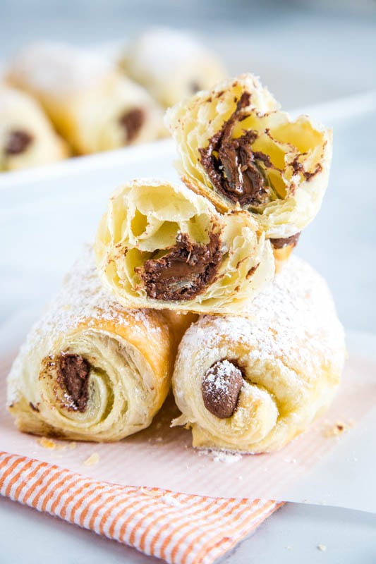 Flaky croissants filled with chocolate