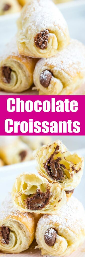 Easy Chocolate Croissants - Use store bought puff pastry to make these flaky homemade croissants filled with chocolate in no time.