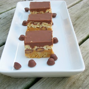 pb lovers rice krispie treats on a plate