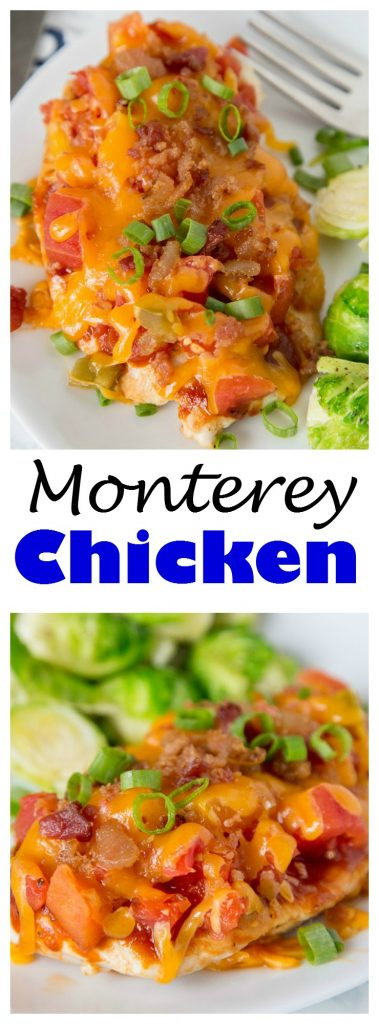 Monterey Chicken - A 30 minute chicken dinner loaded with smokey barbecue sauce, spicy tomatoes, lots of cheese and bacon! A family favorite for sure!