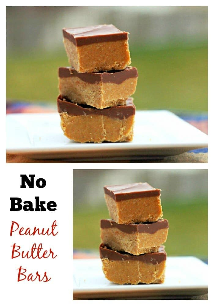 No bake peanut butter bars.  Tastes like homemade peanut butter cups!