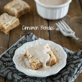 cinnamon blondies on a plate