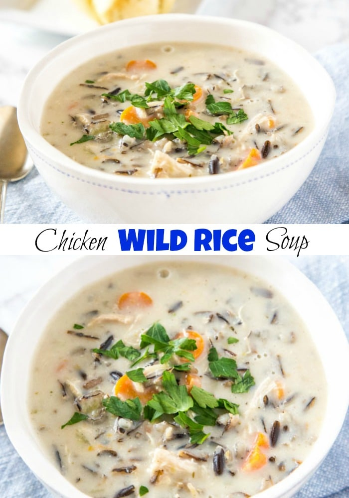 A bowl of soup, with Rice and Wild rice