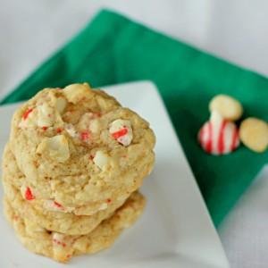 hersheys peppermint macadamia nut oatmeal cookies on a plate