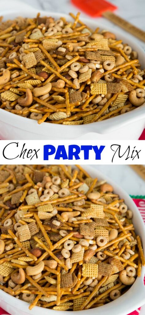 A plate of food, with Party and Chex