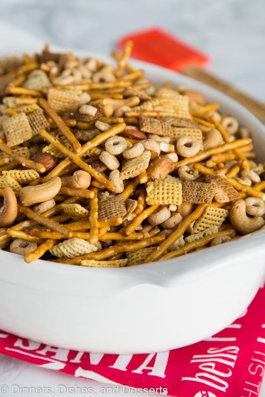 A plate of chex party mix, with Chex and Dinner
