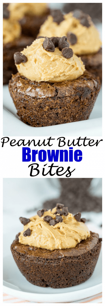 Peanut Butter Brownie Bites - fudgy brownies baked in mini muffin tins and then filled with a creamy peanut butter mixture. Perfect bite to cure your sweet tooth!
