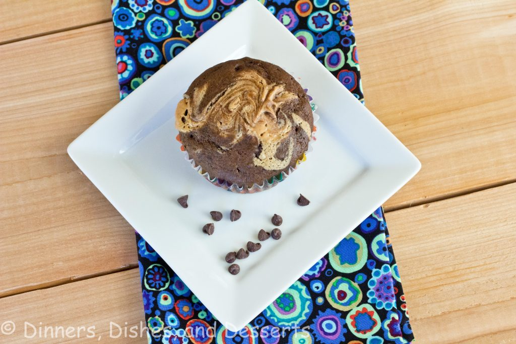 Double Chocolate Peanut Buttet Swirl Muffins