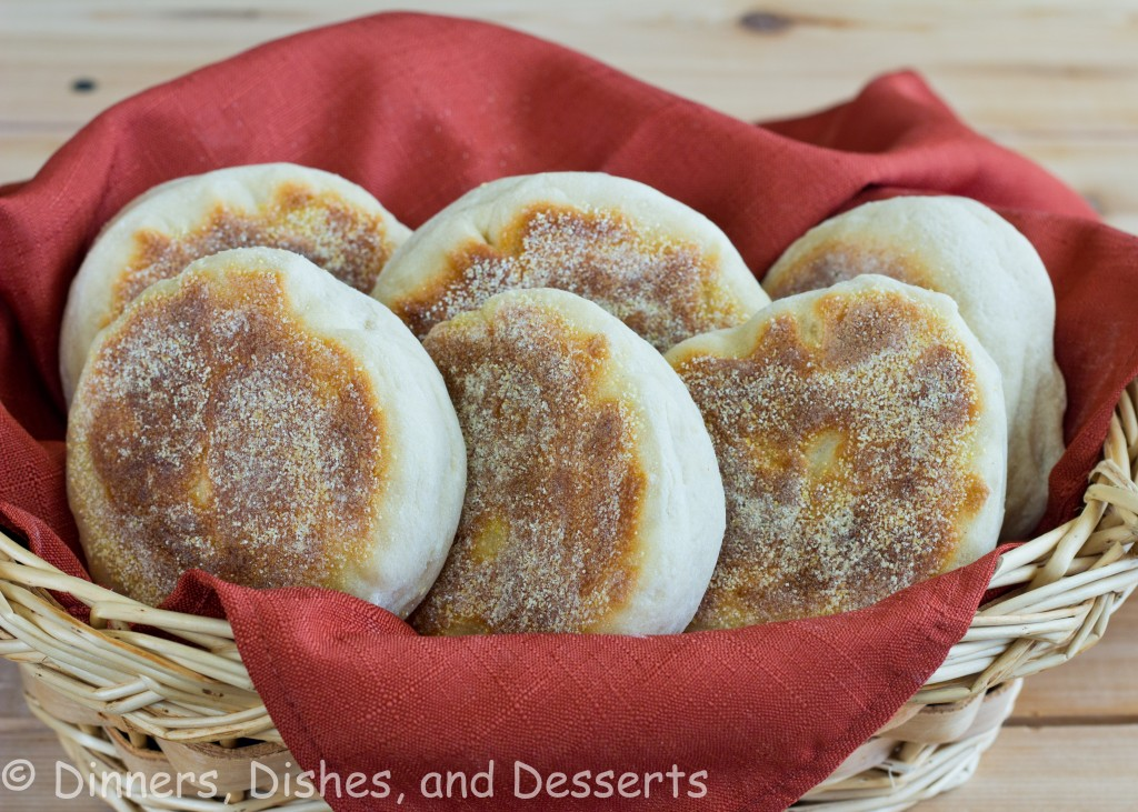 english muffins in basket with red napkin