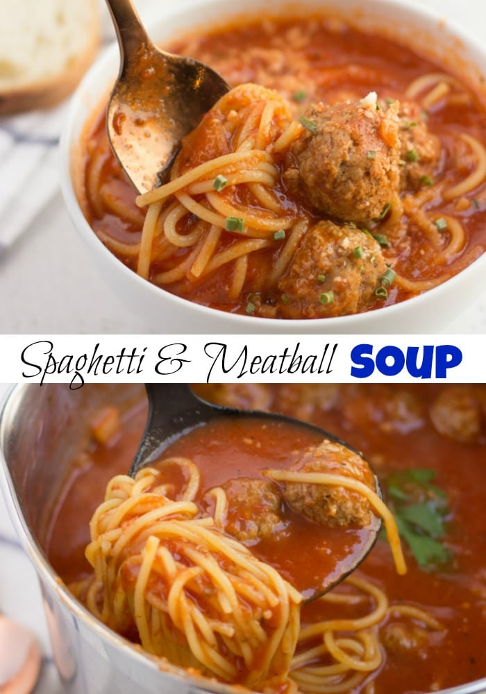 Spaghetti and Meatball Soup -Everyone's favorite classic comfort food turned into a soup!  A fun way to enjoy pasta in a super quick and easy dinner!