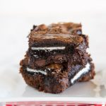 Oreo Brownies - fudge homemade brownies stuffed with Oreo cookies inside. Fudgy, gooey, chocolate-y perfection!