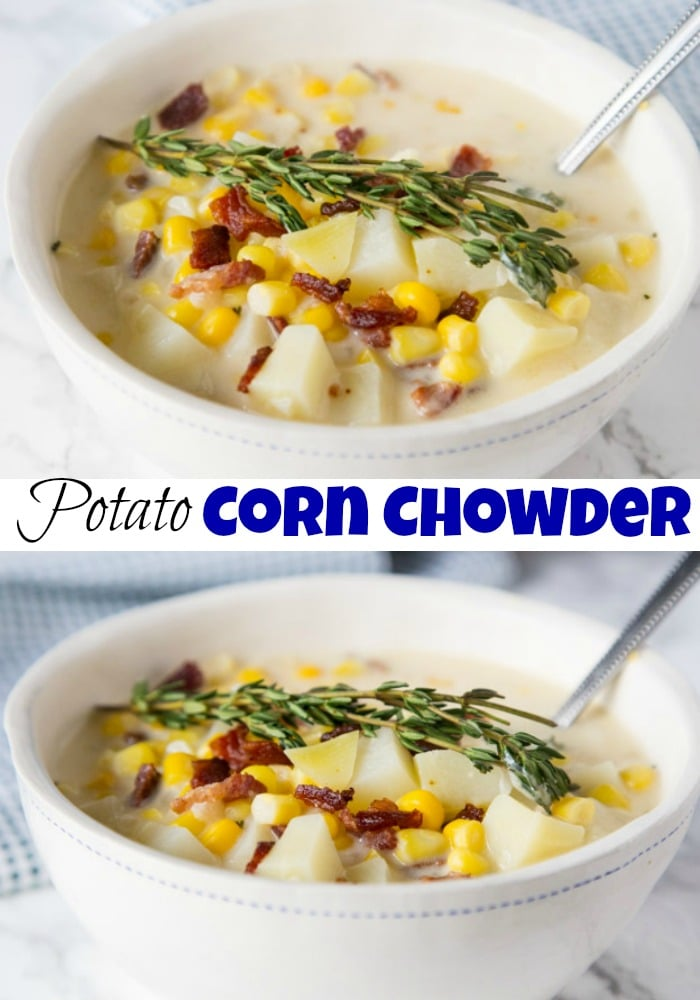 Potato Corn Chowder - a light and creamy corn chowder with lots of sweet corn, fresh thyme and tender potatoes. A warm and comforting soup you can make any night of the week!