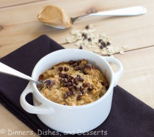 cookie dough baked oatmeal in a bowl