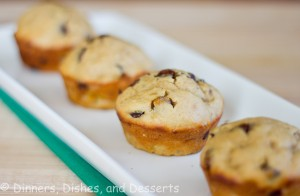 Peanut Butter Banana Chocolate Chip Muffins on white tray