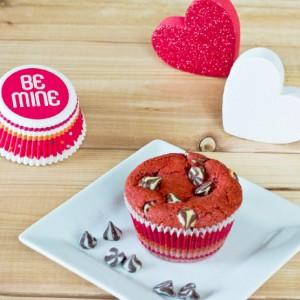 red velvet muffin on white plate