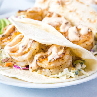 shrimp tacos on plate