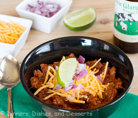beef chili in a bowl
