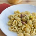 pistachio cream pasta on a plate