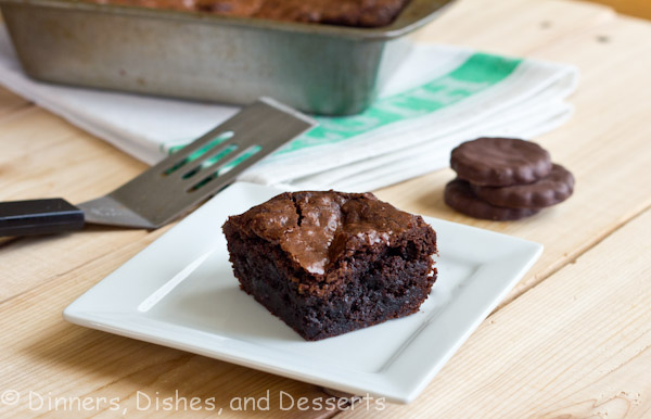 Fudgy Brownies with thin mint cookies in each bite!