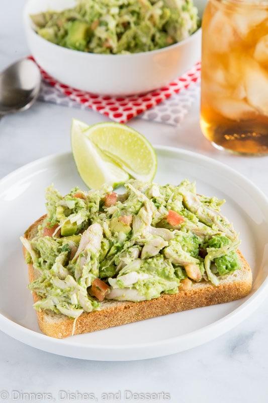 No mayo chicken salad with avocado