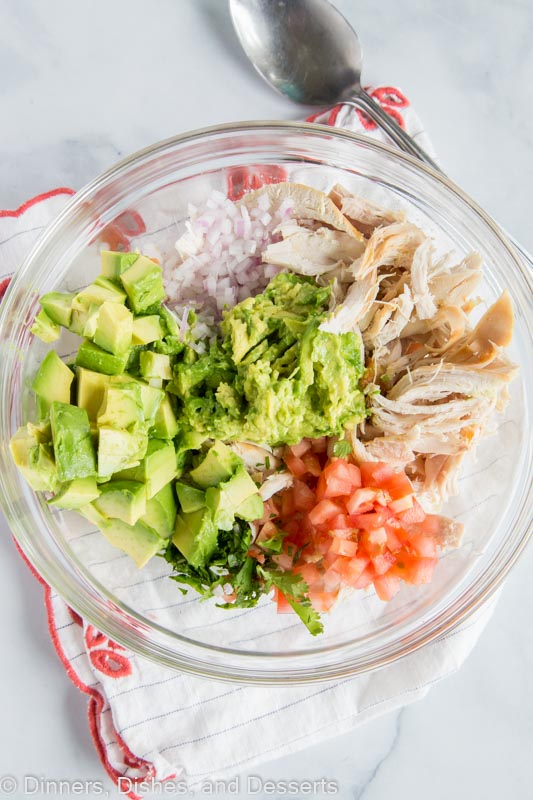 Avocado Chicken Salad with no mayo or sour cream. All the ingredients in a bowl ready to mix