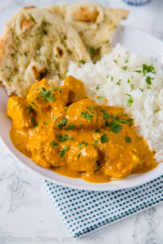 Chicken masala on a plate with rice