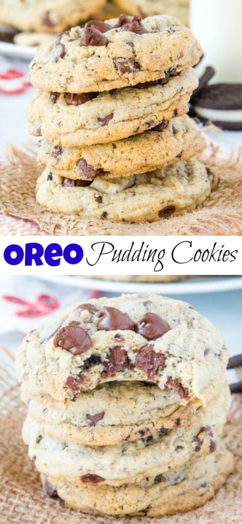 A stack of cookies on a plate, with Cookie and Pudding