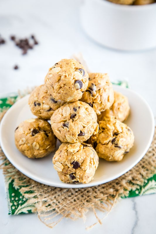 Homemade energy ball are a great snack to have in the fridge - peanut butter, oats, honey, and even chocolate