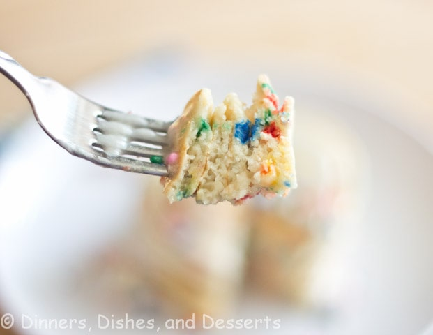 bite of funfetti pancakes on a fork
