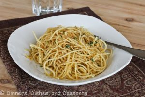 pasta with garlic breadcrumbs on a plate