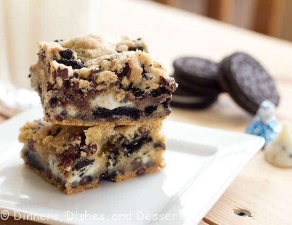 double cookies and cream kiss bars on a plate