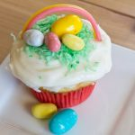 easter basket cupcakes on a plate