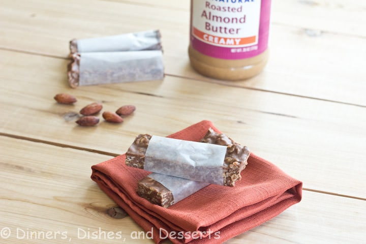 almond butter granola bars on a table