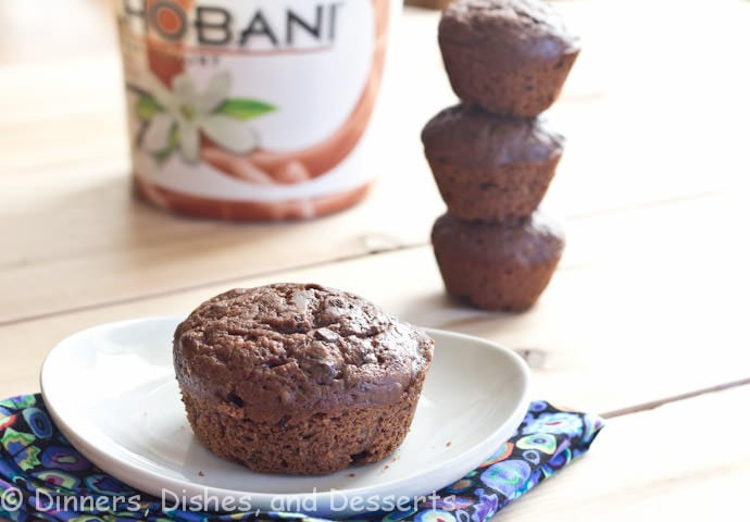 double chocolate chobani muffins on a plate