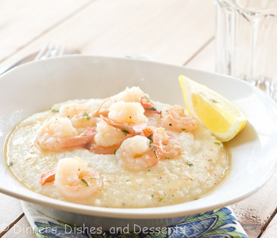 lemon garlic shrimp and grits in a bowl