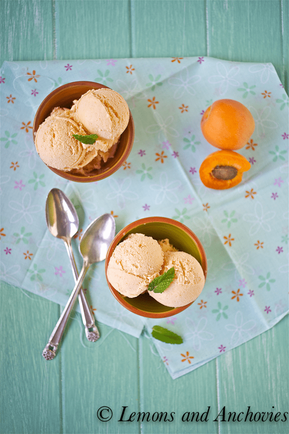 apricot frozen yogurt in a bowl