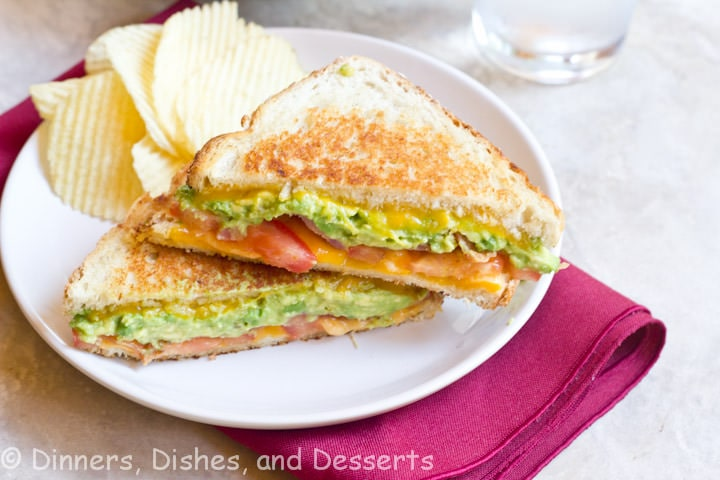 bacon avocado grilled cheese on plate