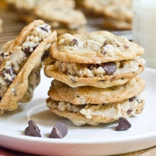 choco chip cookie dough sandwich cookies on a plate