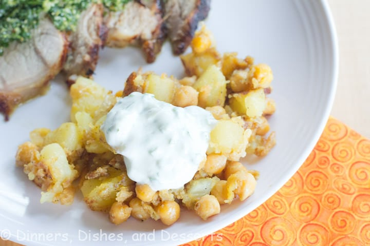 curried potatoes with chickpeas on a plate