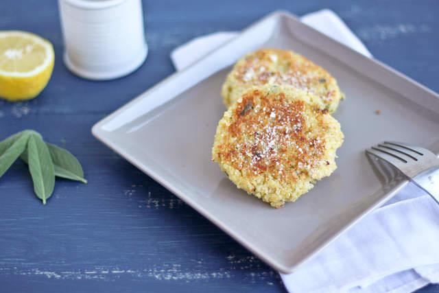 parmesan sage quinoa cakes on a palte